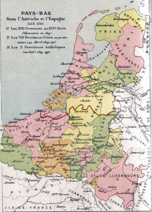 Province of Brabant - Map of the Low Countries including Brabant (yellow). The border between the Northern and the Southern Netherlands is marked in red