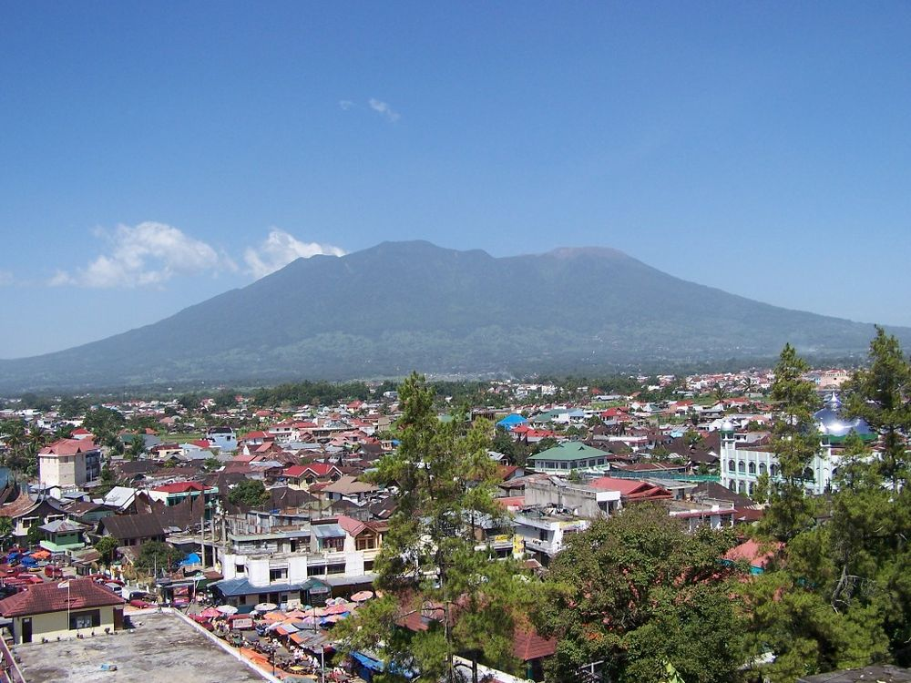 View of Mount Marapi in Bukittinggi