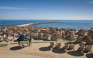 English: The beach in Marbella in the Costa De...