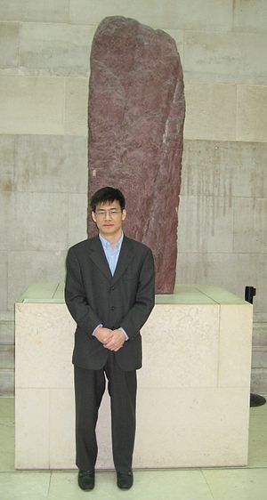 Marc Miyake - Miyake at the British Museum with an Ogham stone, February 2015
