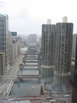 Yankee Hotel Foxtrot - Marina City on the north bank of the Chicago River.