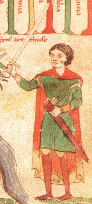 Markward von Annweiler - Markward von Annweiler in an illustration from the  Liber ad honorem Augusti by Peter of Eboli, 1196.