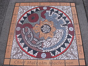 Vancouver Police Department - Mosaic marking the spot where Chief Constable McLennan was killed in 1917