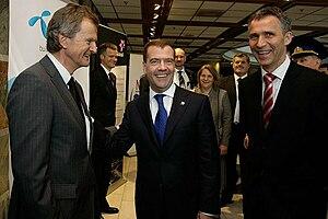 Jens Stoltenberg - Stoltenberg with Russian President Dimitry Medvedev, 27 April 2010.