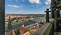 """Meißen Domplatz 2 Meißner Dom dreischiffige gotische Hallenkirche , Blick von obersten turmgalerie auf den sogenannten """"Höckrigen Turm"""" (links) an der Ostseite.jpg"""