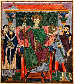 Ottone III assiso in trono circondato dai maggiorenti dell'impero, miniatura di un Evangeliario del X secolo, Bayerische Staatsbibliothek