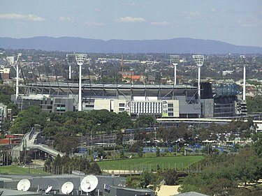 MCG from a city building. Melbourne Cricket Ground from city.JPG