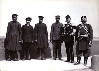 State Duma (Russian Empire) - Members of the State Duma with two Russian police officers
