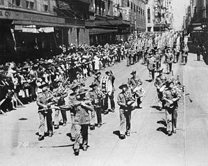 2/19th Battalion (Australia) - The 2/19th Battalion marching down Castlereagh Street in Sydney on 15 September 1940