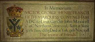 Marquess Conyngham - Memorial to Victor George Henry Francis, 5th Marquess Conyngham, in York Minster