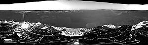 Opportunity mission timeline - Opportunity's first 360-degree grayscale panorama, taken by the navcam on Sol 1 of the mission, showing interior of Eagle crater at Meridiani Planum, shortly after touchdown in 2004.