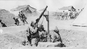Battle of Sheikh Sa'ad - Indian anti-aircraft machine gunners in action during the siege of Kut.