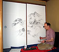 Michael Hofmann painting at Sowing the Moon Teahouse, Green Gulch Farm Zen Center (2006).jpg