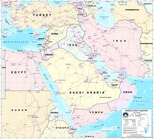 Political & transportation map of the Middle East today