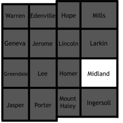 Location of Midland Charter Township in Midland County, Michigan.