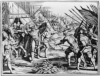 The assassination of Michael the Brave at Campia Turzii, 1601 MihaiViteazulDeath-LeGrandTheatreHistorique1703.jpg