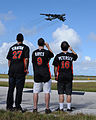 Mike Stanton, Bryan Peterson and Brett Hayes watch a B-52 takeoff at Andersen AFB.jpg