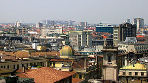 Panorama of Milan with San Siro stadium in bac...