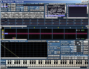 Audio sequencer - A typical Tracker software (Milkytracker)