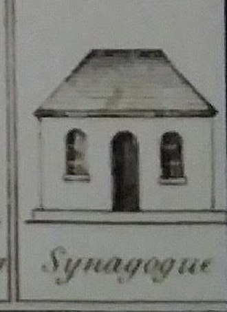 "Congregation Shearith Israel - The Mill Street synagogue, detail from the section ""Religious Buildings of New York"" in A Plan of the City and Environs of New York  by David Grim"