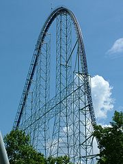 The world's first gigacoaster, the 310 ft tall Millennium Force at Cedar Point