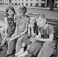Millworkers' children sitting on bench at Germania Park, Holyoke, Massachusetts.jpg