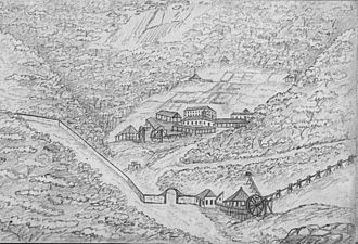 Gongo Soco - The old Gongo Soco mine in 1839, sketch by Ernst Hasenclever