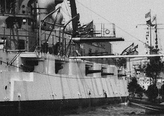 "7""/44 caliber gun - USS Minnesota (BB-22), cropped photo showing close up of port side 7""/45 caliber guns."