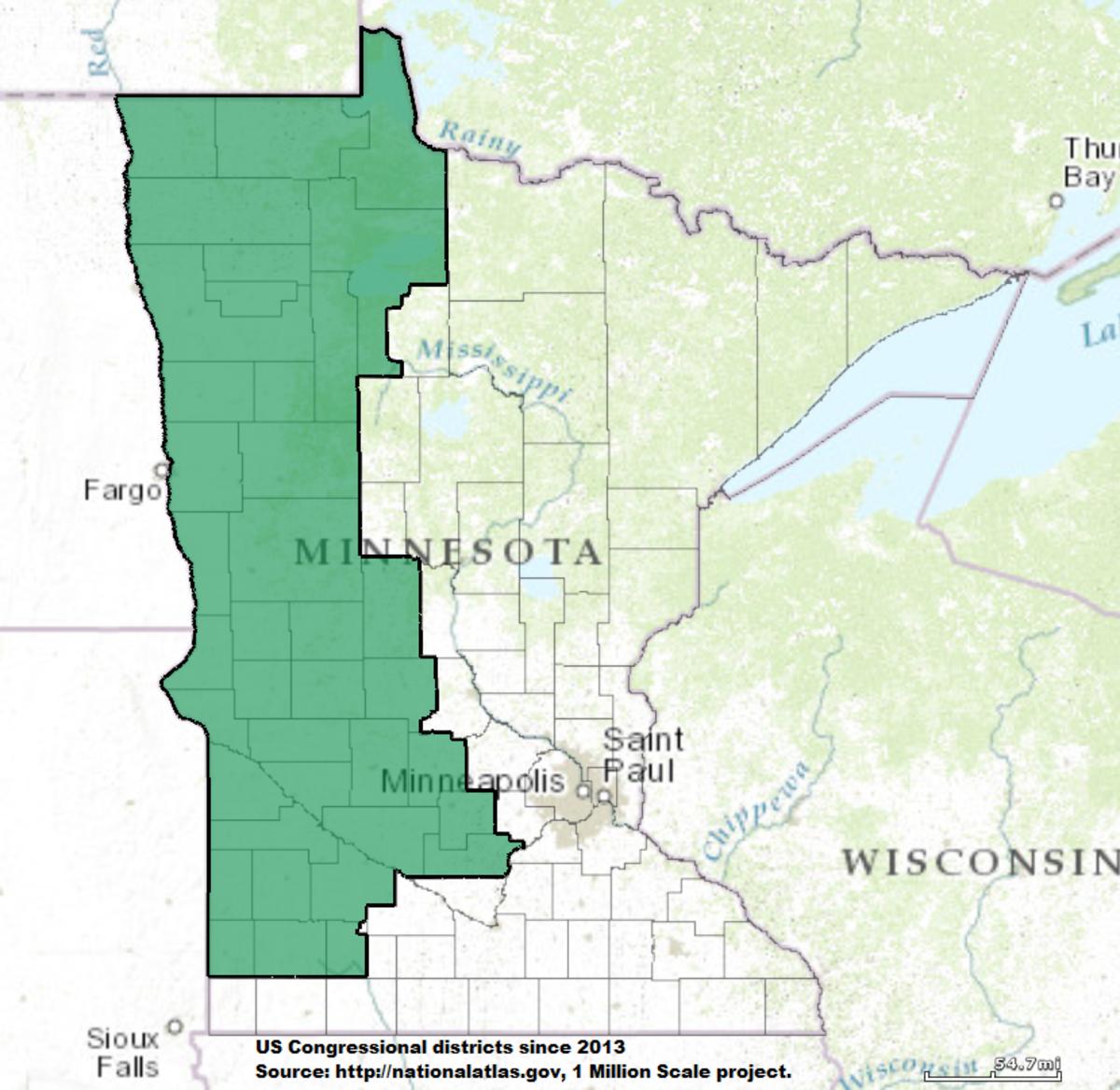 Minnesotas Th Congressional District Wikipedia - Us map minnesota