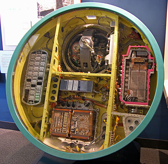 LGM-30 Minuteman - The guidance system of the Minuteman-II was much smaller due to the use of integrated circuits. The inertial platform is in the top bay.