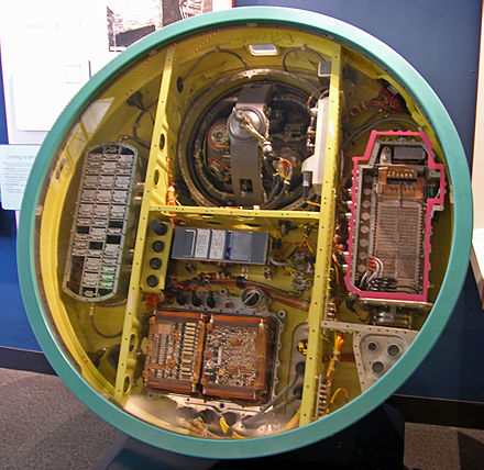 The guidance system of the Minuteman-II was much smaller due to the use of integrated circuits. The inertial platform is in the top bay. Minuteman guidance computer (1).jpg