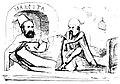 Mitică - Hărdăŭ numit chined̦escu pentru Mărcuţa prea bun, se ciartă cu Muerescu pe halatul de nebun!, Ghimpele, 25 apr 1876.JPG
