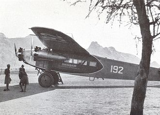 Swissair - Swissair Fokker F.VIIb-3 m (CH-192) piloted by Walter Mittelholzer in Kassala (Sudan), February 1934.