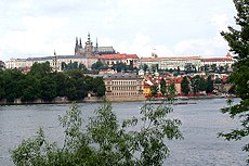 The view of the cathedral and The castle above the river Vltava.