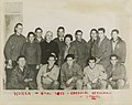Molly Picon (center), actress Yvette Dugay (second row left), Cardinal Spellman, and troops during a U.S.O. tour, Korea, Christmas 1951 (8231577801).jpg