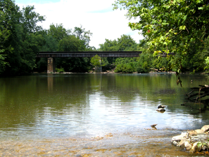 Monocacy National Battlefield - Railroad bridge over the Monocacy River, in the same location as the railroad bridge during the Battle of Monocacy
