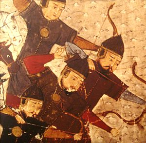 Peter Jackson (historian) - Mongol archers in Compendium of Chronicles of Rashiduldin Hamadani (1305). Depicted on cover of Mongols and the West by Peter Jackson