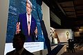 Monitor Shows Secretary Kerry As He Addresses Audience of Several Thousand Attending Egyptian Development Conference in Sharm el-Sheikh.jpg
