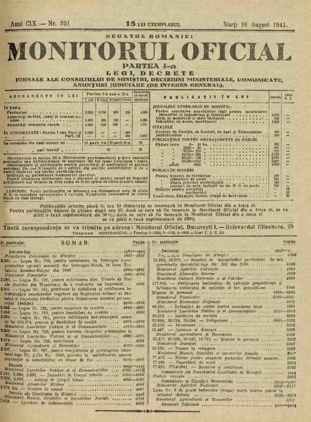 File:Monitorul Oficial al României. Partea 1 1941-08-26, nr. 201.pdf