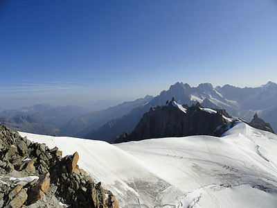 From atop Mont Blanc, Italy-France.
