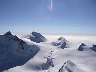Margherita Hut - Mont Rosa massif, with Signalkuppe and Margherita Hut (visible on second skyline peak from the left)