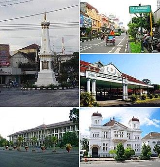 Yogyakarta - From top left, clockwise: Tugu Monument, Jalan Malioboro, Kraton Yogyakarta, Bank Indonesia Yogyakarta, Gadjah Mada University