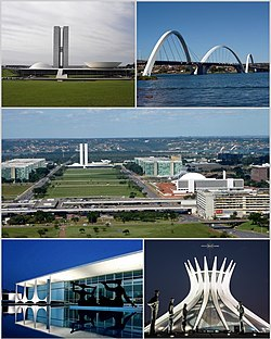From upper left: National Congress of the Federative Republic of Brazil, Juscelino Kubitschek bridge, Monumental Axis, Palácio da Alvorada and Cathedral of Brasília. көрінісі