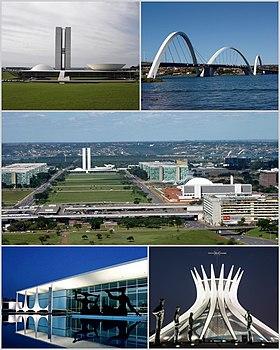 Da esquerda para a direita: Congresso Nacional do Brasil, Ponte JK, Eixo Monumental, Palácio da Alvorada e Catedral Metropolitana de Brasília.