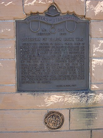 Black Hawk War (1865–72) - Image: Monument describing Black Hawk War beginnings