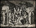 Moses brings forth water with his rod; his people gather the Wellcome V0034274.jpg