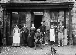 Mr John Ashton and his family and workers, Carno