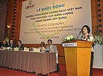 Ms. Phan Thi My Linh, Vice Minister of Vietnam's Ministry of Construction, speaks at the launching ceremony (14141337133).jpg
