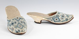 Mule (shoe) - 18th Century embroidered Mule