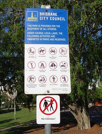 Musgrave Park, Brisbane - Safety sign in Musgrave Park